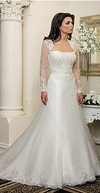 Long Sleeved Organza and Lace Wedding Gown