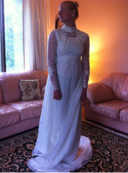 Regency Style Empire Waist Vintage Bridal Gown for rent - size 6
