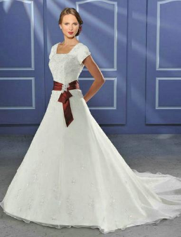 Modest Satin and Organza Wedding Dress