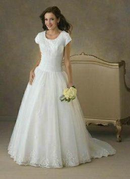 Modest Short Sleeved Satin and Organza Wedding Gown with Lace