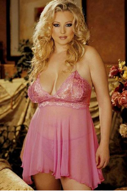 Pretty Plus Size Lace Embroidered Mesh Babydoll Set