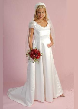 Romance and Roses Short Sleeved Bridal Maternity Gown