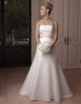 Strapless A-Line Satin Wedding Gown