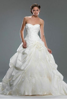 Romantic Taffeta and Lace Wedding Gown