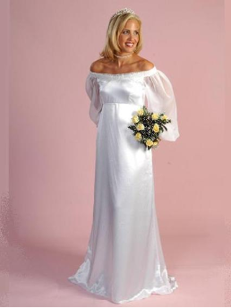 Satin Off-the-Shoulder Long Sleeve Maternity Wedding Dress