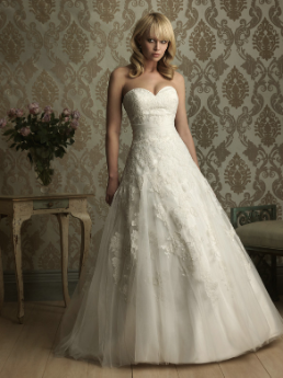 Satin and Tulle Ball Gown with Sweetheart Neckline