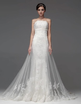 Spectacular Sheath Wedding Gown with Embroidered Organza Overlay
