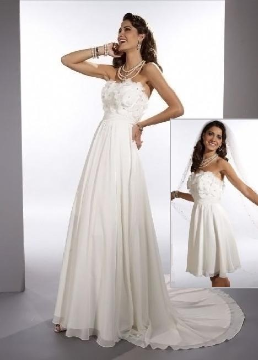 Strapless Chiffon Convertible Bridal Gown