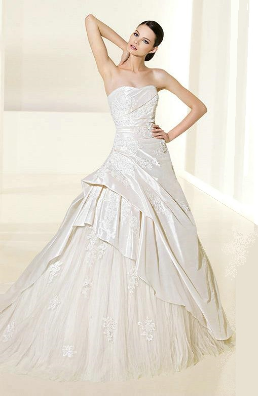 Strapless Taffeta and Tulle Wedding Gown