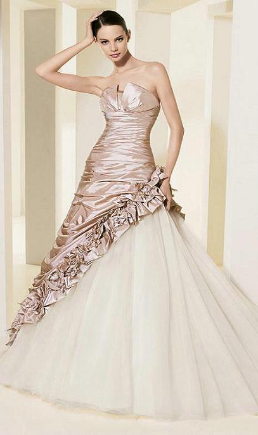 Strapless Taffeta over Tulle Princess Style Wedding Dress