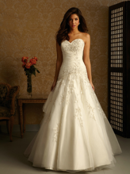 Strapless Tulle over Satin Sweetheart Neckline Fit and Flare Gown