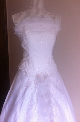 Strapless White Wedding Gown with Sequins and Ruffles - size 10