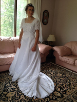 Sweetheart brand Short Sleeve Wedding Gown with Train for rent - size 10