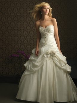Taffeta and Lace Strapless Ball Gown