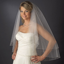 Rochester Fingertip Length Wedding Veil with Crystals and Rhinestones