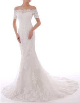Vintage-look off-the-shoulder Embroidered Chiffon and Lace Wedding Gown