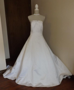White Strapless Davids Bridals Wedding Gown for rent - size 16
