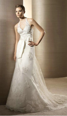Embroidered and Beaded Lace over Tulle and Satin