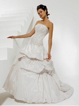 Strapless Taffeta and Lace Ballgown
