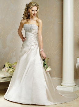 Elegant Satin Strapless Princess Wedding Gown
