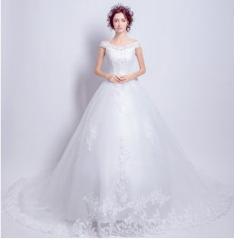 Embroidered Organza Wedding Gown