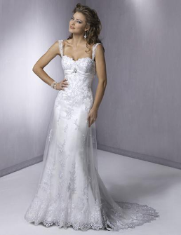 Empire Line Lace over Satin Bridal Gown