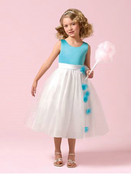 Pretty Satin and Tulle Flower Girl Dress
