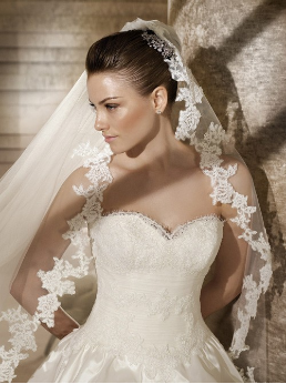 Strapless Taffeta and Lace Ballgown Style Bridal Gown