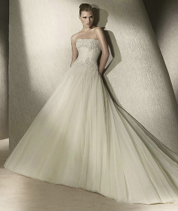 Satin and Tulle Strapless Ballgown