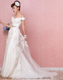 Satin and Organza Wedding Gown