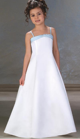 Floor Length Satin Flower Girl Dress