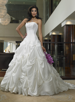 Strapless Neckline Satin Ball Gown