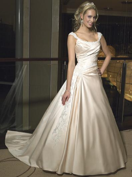 Princess Off the Shoulder Satin Wedding Gown