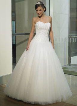 Strapless Satin and Lace Wedding Dress