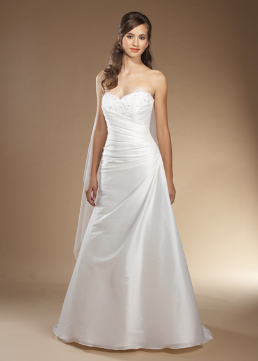 Traditional A-Line Strapless Satin