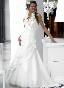 Halter Neckline Satin Wedding Dress