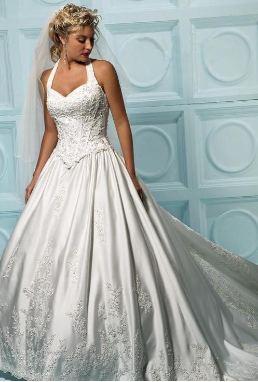 Satin Halter Neckline Wedding Dress