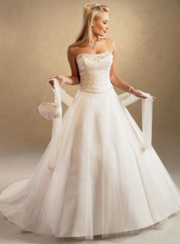 Strapless A-Line Tulle over Satin