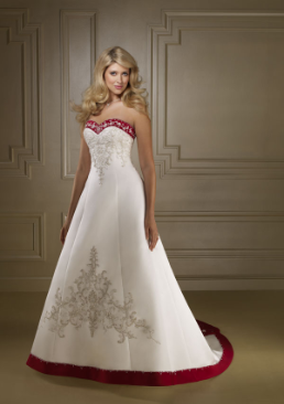 Satin with Embroidery Wedding Gown
