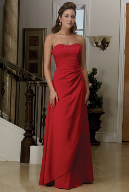 Satin Strapless Long  Bridesmaid Dress