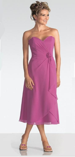 Sweetheart Neckline Chiffon Bridesmaids Dress