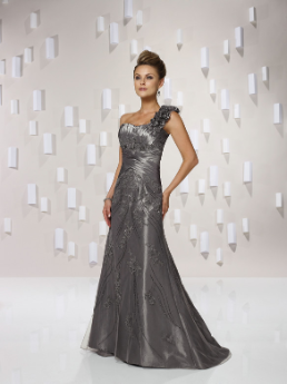 One-Shoulder Taffeta and Tulle Evening Gown