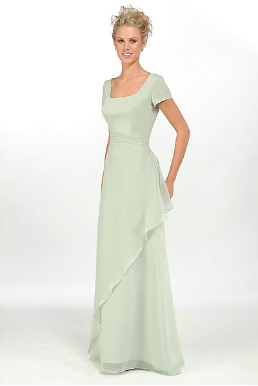 Modest Short Sleeved Satin and Chiffon Gown