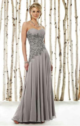 Strapless Chiffon Mother of the Bride Gown