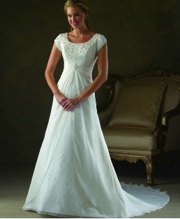 Short Sleeved Chiffon over Satin Wedding Dress