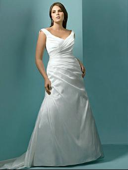 Full-Figure Beautiful Taffeta Wedding Gown