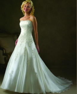Strapless Satin and Organza Wedding Gown