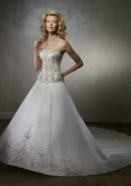 Strapless Embroidered Satin Bridal Gown
