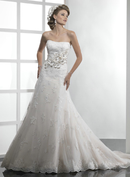 Glamorous Lace over Satin Wedding Gown