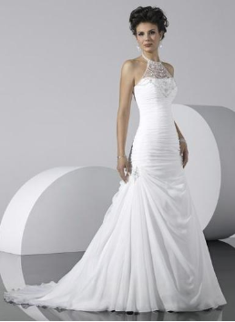 Illusion Neckline Satin Wedding Gown